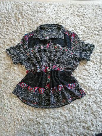 Świetna koszula bluzka mgiełka folk wzory koronka George luźna
