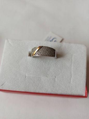 Nowy srebrny pierścionek srebro złoto próba 925