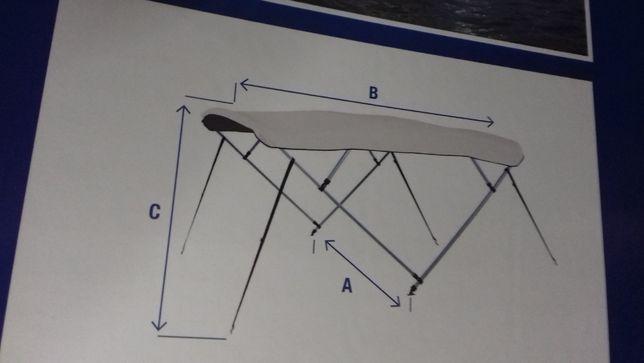 Toldo bimini barcos em alumínio (150-160)x180x110, 2 arcos