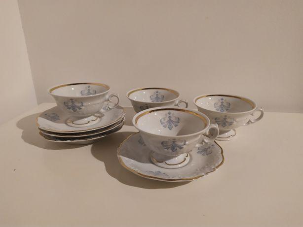 4 filiżanki 4 podstawki Wałbrzych porcelana plus gratis
