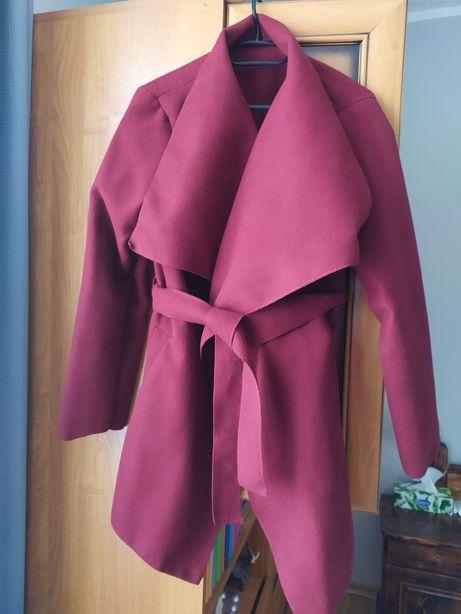 Płaszcz kurtka narzutka bordowa flausz wiosna/jesień