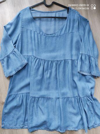 Sukienka jeansowa xs mini falbanki