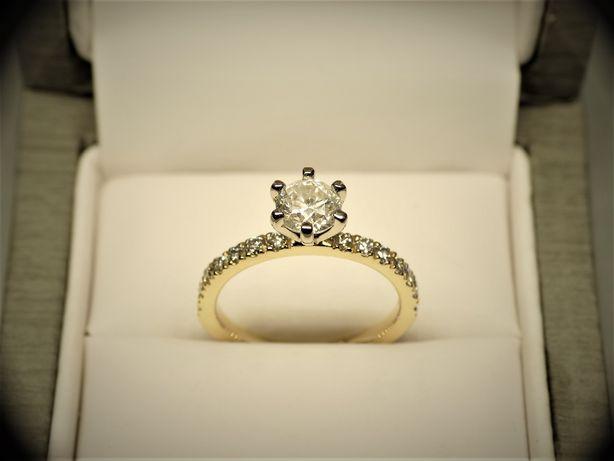 Złoty pierścionek zaręczynowy z brylantem 1,48 CT Certyfikat