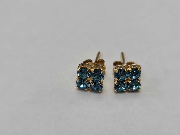 Piękne złote kolczyki damskie/ 585/ 1.64 gram/ Błękitne cyrkonie