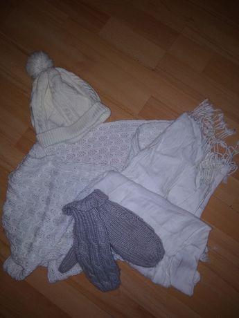 Komplet czapka+komin+ szal+ rękawiczki