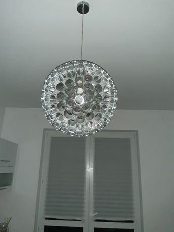 Lampa nowoczesna srebrna kula