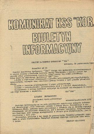 "Komunikat KSS ""KOR"" nr 23 ORAZ Biuletyn informacyjny nr 24 (1978 r.)"