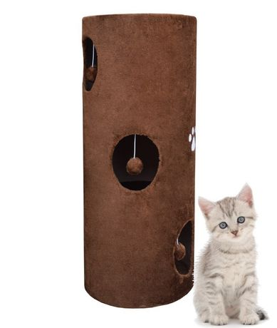 17030 BRĄZOWY drapak TUBA dla kota z legowiskiem i matą sizalową