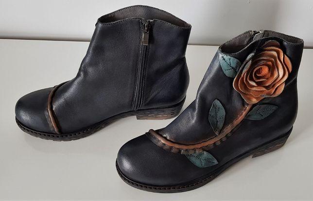 Buty Socofy Handmade Ręcznie robione Skórzane Art Deco Floral OKAZJA