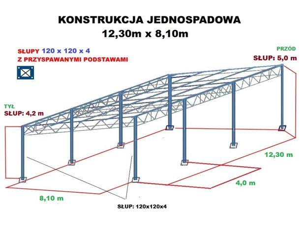 Wiata rolna Konstrukcja skręcana 12,3 x 8,1m Hala Magazyn Blacha garaż