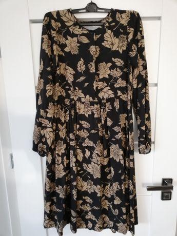 Sukienka czarno beżowa w kwiaty rozm M
