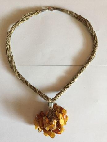Oryginalny naszyjnik z bursztynami