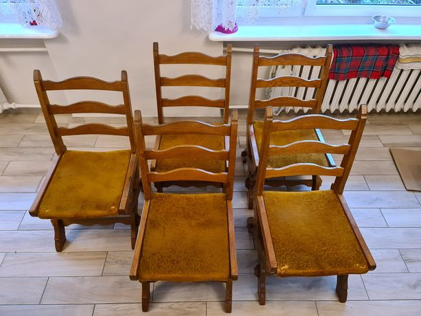 Krzesło dębowe krzesła 5 szt PRL antyk meble Swarzędzkie