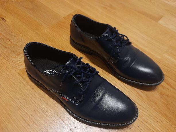 Skórzane granatowe buty chlopiece Zarro wizytowe na komunie