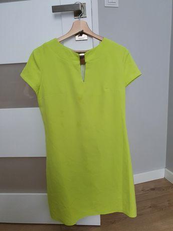 Limonkowa sukienka koktajlowa rozmiar 40