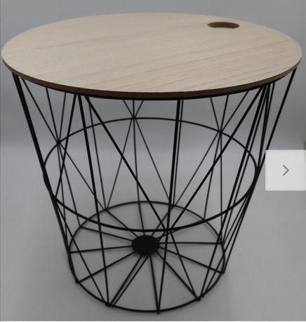 Kosz stół Stolik kawowy druciany Vintage czarny
