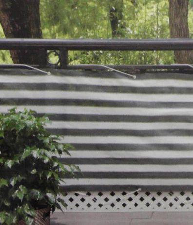 Osłona balkonowa na płot taras 6m x 75cm biało-szara nieprześwitująca
