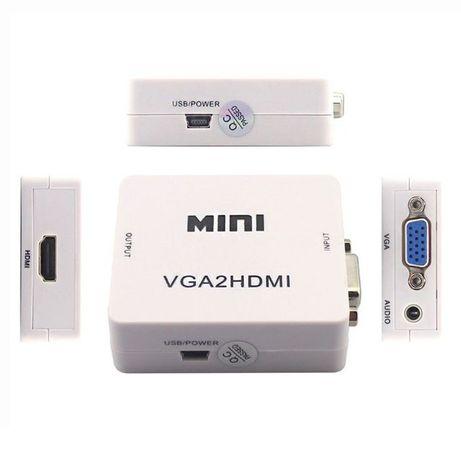 Conversor VGA para HDMI com Som, TV HDTV Portatil NOVO