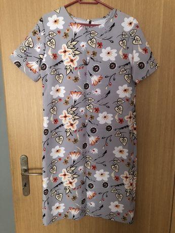 Szara sukienka kwiaty 46