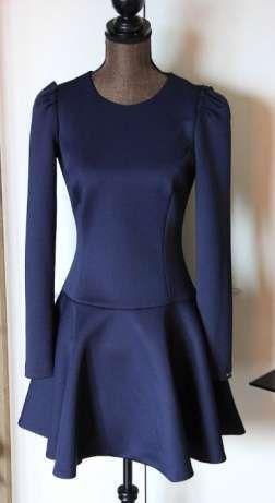 Niebieska Granatowa sukienka SIMPLE 34 xs 36 s długi rekaw