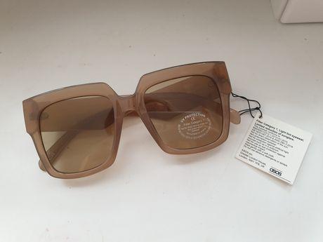 Okulary przeciwsłoneczne beżowe brązowe asos damskie kwadrat