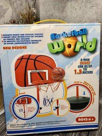 Детский игровой набор для баскетбола на стойке напольный с мячом и нас