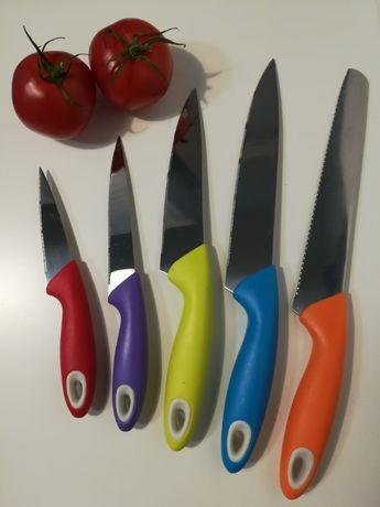 Noże kuchenne - zestaw, komplet, 6 elementów + stojak, różne kolory
