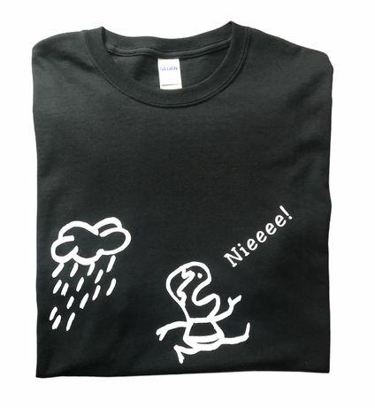 Koszulka z nadrukiem - uciekający przed chmurą