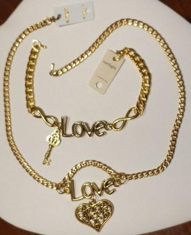 """Złoty (18k) komplet biżuterii z kolekcji """"LOVE"""" w rewelacyjnej cenie;"""