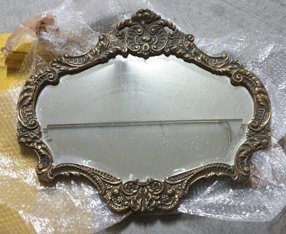 Espelho bronze trabalhado, antigo e pesado