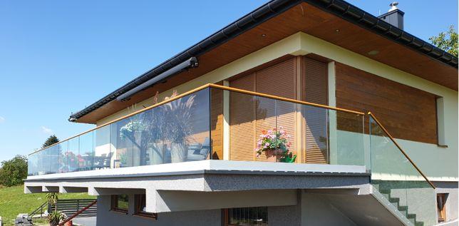 Balustrada szklana samonośna na profilu (szkło bezpieczne 16,76 mm)