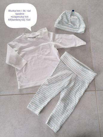 Zestaw hm 56-62 białe spodnie czapeczka bluzka