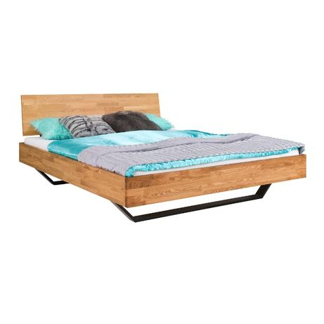 Łóżko dębowe Vigo Classic na metalowych nogach 140-180