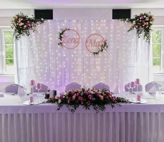 Ścianka Led weselna tiulowa, tło za Parą Młodą na ślub, duża.