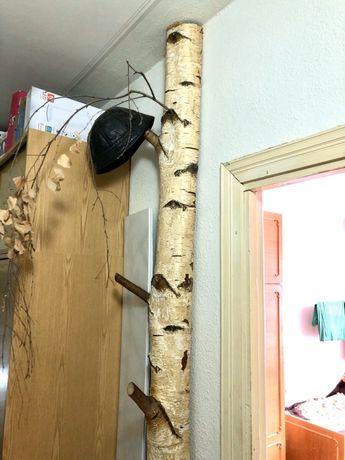 Вішалка, вешак, декор, натуральна половина берези - висота - 2.57 м