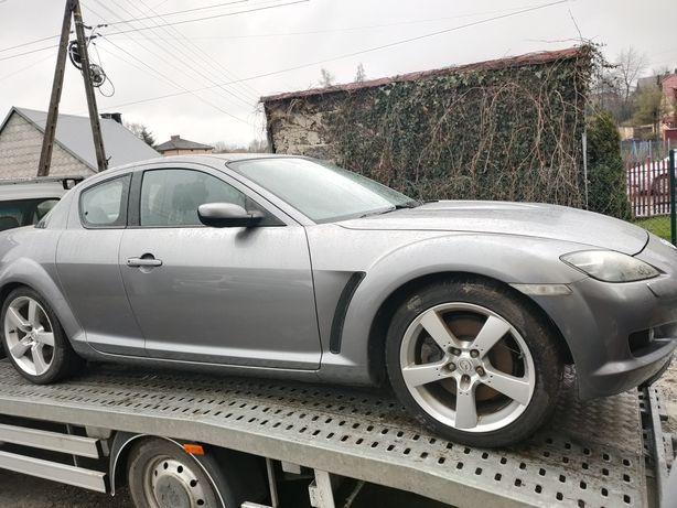 Mazda rx 8 srebrny ciemny błotnik części welur