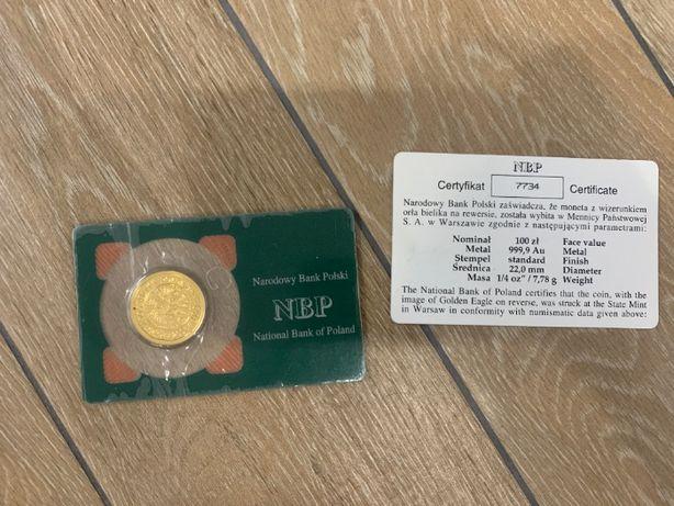 sprzedam złotą monetę 1/4 uncji Orzeł Bielik