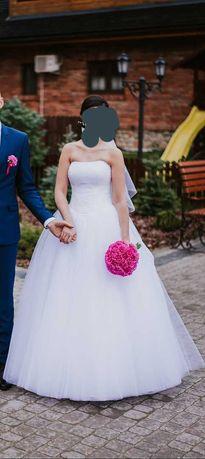 Suknia ślubna rozm 36/38 + bolerko + ozdoba do włosów