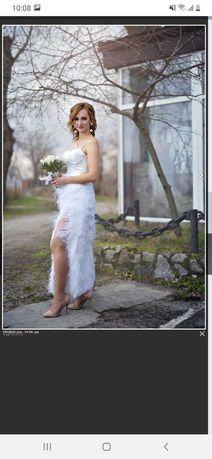 Платье (с перьями) свадебное/на роспись (размер S)