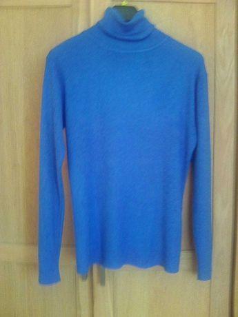 Sweter/ cienki sweterek, drobne boucle, szafirowy, rozm. 40/42/L