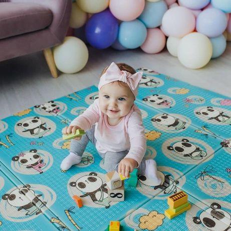Детский складной термо коврик для игр и ползанья (термоковрик)