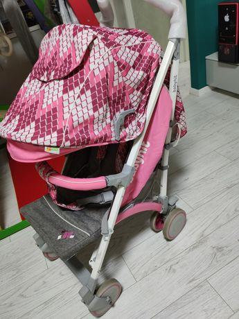 Прогулочная розовая коляска rainbow babyhit