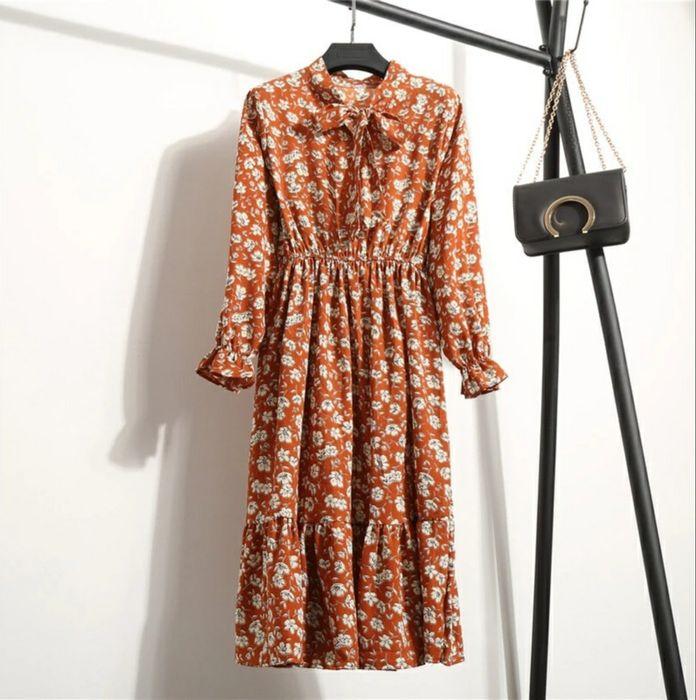 Горчичное платье шифоновое миди midi гірчична сукня шифонова міді Ирпень - изображение 1