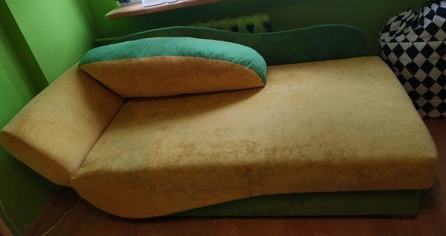 Tapczan sofa łóżko - jednosobowe żółto-zielone 160x80