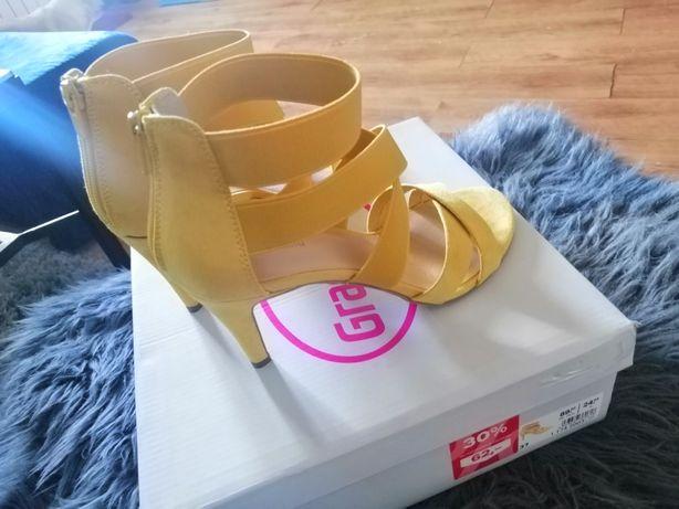 Żółte sandałki szpilki