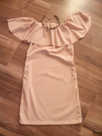 Sukienka hiszpanka pudrowy róż S/M