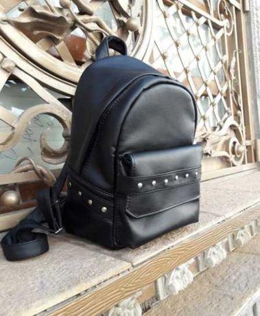 Наложка! Женский рюкзак черный кожаный, подростковый, для девочки