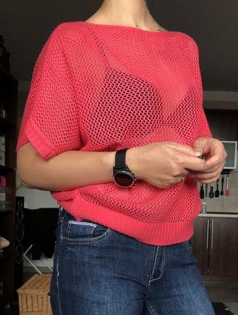 Ażurowy sweter różowy S/M