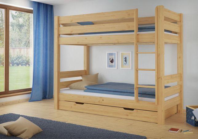 Łóżko pietrowe dla dzieci bez szuflady drewno sosnowe 90x200