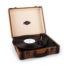Jerry Lee Gramofon w stylu retro LP USB brązowy